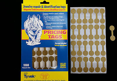 1000 PCS Gold Price Sticker Tags, Jewelry Round Barbell labels Dumbbell tags