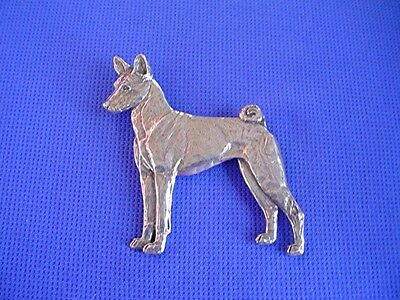 Pewter Basenji Pin STANDING #40M Sighthound Dog Jewelry by Cindy A. Conter