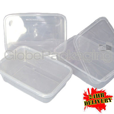 250 x PLASTIC 500ml MICROWAVE FOOD TAKEAWAY CONTAINERS
