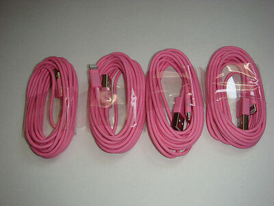 4x 2M/6Ft USB Data Sync Charger Cable For iPhone 5/5S/5c/i6 6 6s plus Pink ipod