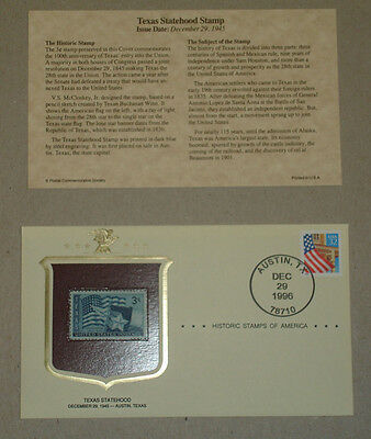 Historic Stamps of America Texas Statehood First Day cover