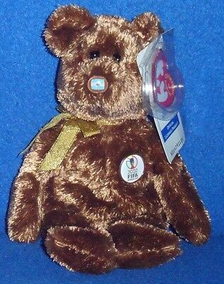 TY CHAMPION BEAR BEANIE BABY- SPAIN, ARGENTINA or BRAZIL - YOU CHOOSE - MINT