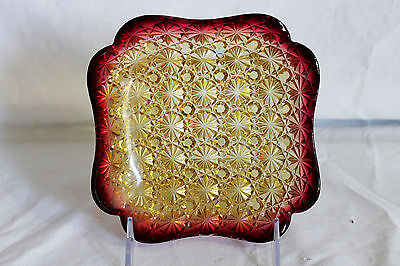 """Amberina """"Daisy and Button"""" Glass Square Candy Dish Hobbs"""