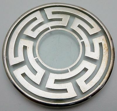 Heavy Sterling Silver Overlay Glass Coaster