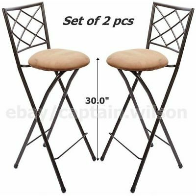 Pleasant Folding Bar Stools Set Of 2 X Back 30 Bronze Beige Unemploymentrelief Wooden Chair Designs For Living Room Unemploymentrelieforg