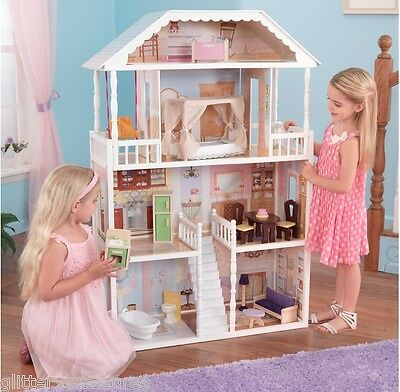 * New Kids Girls Dollhouse With Furniture
