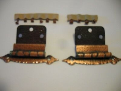 """Vtg NOS new old Antique COPPER Plated HINGES 3/8"""" Inset Cabinet Doors rustic"""