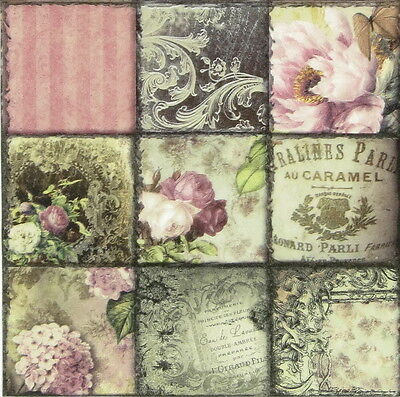 4x Vintage Collage Paris Paper Napkins for Decoupage Craft