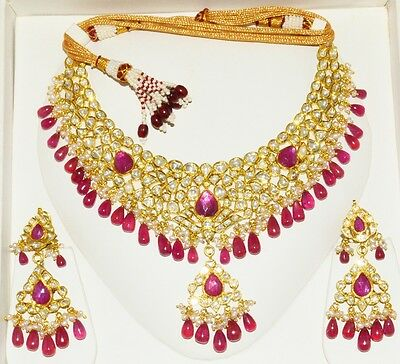 Estate Moghul Ruby Pearl Diamond Enamel 22K 18K Gold Necklace Dangle Earring Set