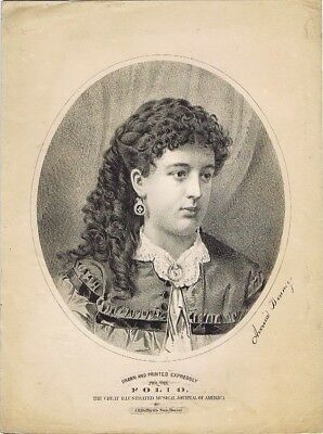 Vintage Avonia Bonney Print, from the Sept 1873 FOLIO Music Magazine