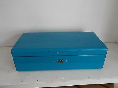 Vintage Combination Lock Box Advertising New York Life Blue one Carry Handle