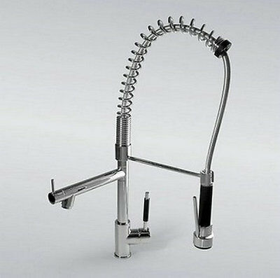Brass Polished Chrome Pull Out Spray Kitchen Sink Faucet Mixer Tap