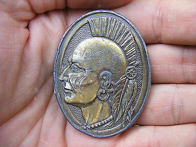 Vtg LAST OF THE MOHICANS Belt Buckle MOHAWK Indian LEWIS Tribe PUNK RARE VG++