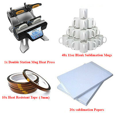 Professional Pack Sublimation Heat Press + Heat Resistant Tape + Papers  + Mugs