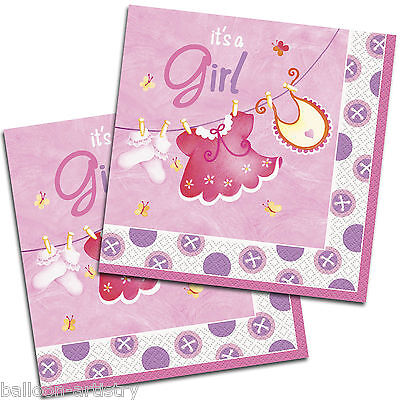 16 Pink Girl's CUTE CLOTHESLINE Baby Shower Party Disposable 33cm Paper Napkins