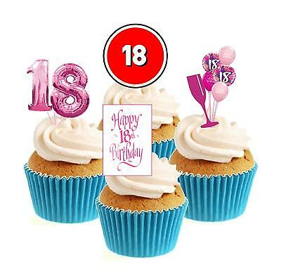 Novelty 18th Birthday Mix Pink 12 Edible Stand Up wafer paper cake toppers party
