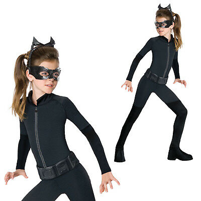 Girls Catwoman Fancy Dress Costume Batman Dark Knight Halloween Jumpsuit Outfit