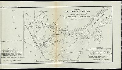 St. Clair River Delta Michigan 1842 U.S.G. old state survey map