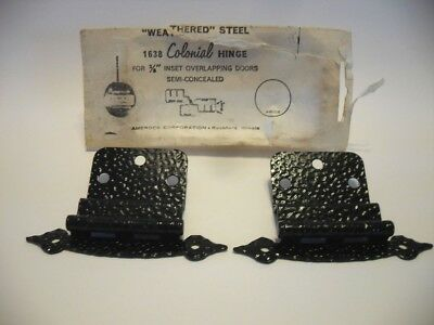 "Vintage NOS Hammered BLACK Steel Cabinet Door Hinges 3/8"" Inset"