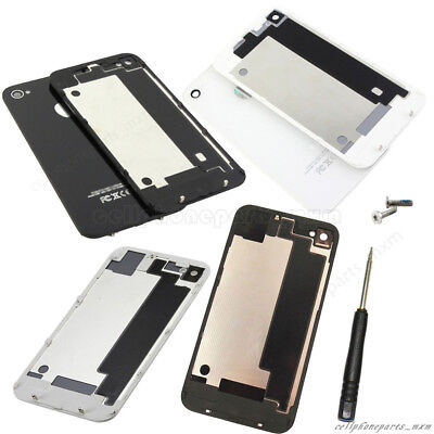 New Rear Glass Battery Back Cover Door Replacement For iPhone 4 4S + Tool