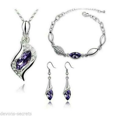 ladies silver wedding bridal gift jewellery drop dangle earring necklace set JJ3
