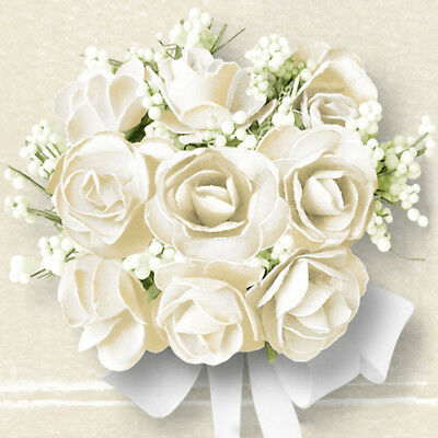 Ambiente Paper Napkins Serviettes White Roses Flower Pk 20 Luxury 3 Ply Wedding