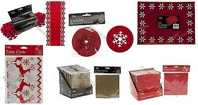 Traditional Christmas Runner Red Nordic Snowflake Placemat Tableware Napkin Coas