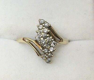 10k Yellow Gold Diamond Cluster Waterfall Ring Stamped ADC