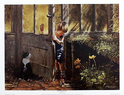 "Paul Monteagle ""Greenhouse"" Boy Cat Art PRINT SIZE:43cm x 33cm BROWSE OUR SHOP"
