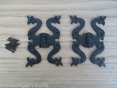 "2 X 5"" Black Antique Ornate Cast Iron Snake Butterfly Gothic Door Butt Hinges"