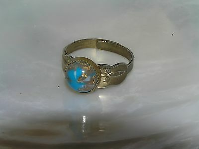 Vintage Goldtone with Blue Earth Like Round Cab Adjustable Ring – AS-IS – widest