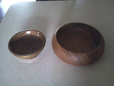"""Lot of 2 Vintage Wooden Bowls  ~ 11 1/2"""" and 8"""""""