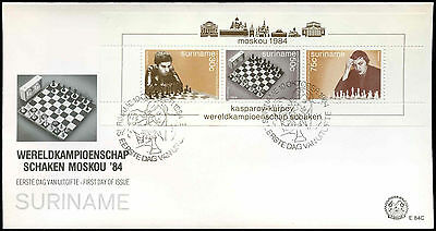 Suriname 1984 World Chess Championships M/S FDC First Day Cover #C30267