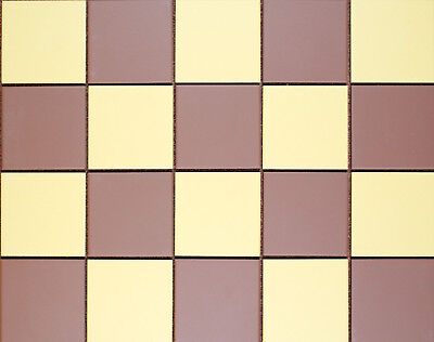 Victorian reproduction unglazed floor tiles - Mustard & Red Chequerboard