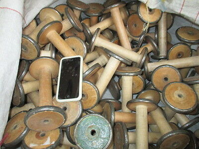 Vintage Wooden Industrial Textile Bobbins Spools Cotton Reels Factory x10 Old 6""