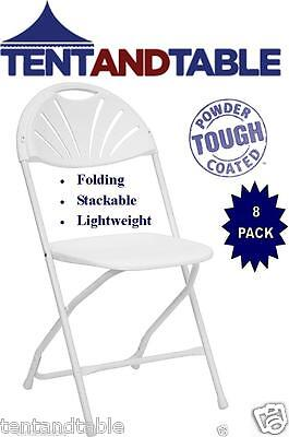 8 White Stacking Chairs Fan Back Wedding Day Party Holiday Folding Chair