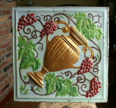 "24"" Antique Ceiling Tile - ORIGINAL Green, Gold, Maroon and Blue Paint -- URN"
