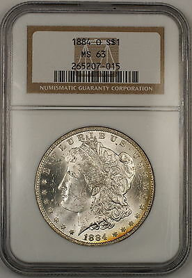 1884-O Morgan Silver Dollar $1 Coin NGC MS-63 *Beautifully Toned Reverse* (Tb)