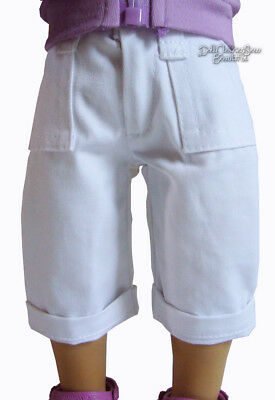 """White Bermuda Shorts w/ Cuffs made for 18"""" American Girl Doll Clothes"""