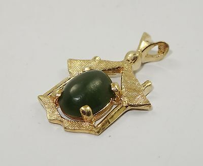 ANTIQUE CHINESE EXPORT SOLID 14K YELLOW GOLD w/ CABOCHON JADE CHARM PENDANT