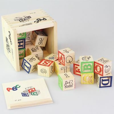 27pcs ABC 123 Wooden Blocks Letters Numbers Box Storage Case