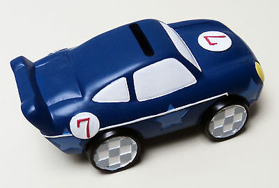 NEW Blue Racing Car Money Box Baby Gift Christening Moneybox Bank Boys Novelty
