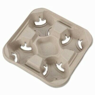 Chinet StrongHolder Molded Fiber 4- Cup Trays, 300 Trays (HUH20994CT)
