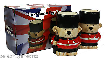 Guardsman Teddy Bears Novelty Ceramic Egg Cups Buckingham Palace London GB NEW