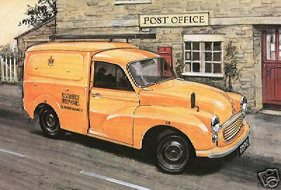 MORRIS MINOR VANS - Tarjeta postal Set - Royal Mail, GPO, RAC