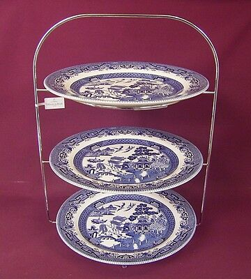 Churchill Blue Willow Tea Room Style 3 Tier Cake Stand - New/unused