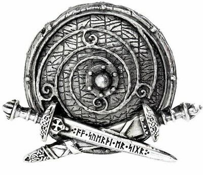 "War Band Viking Shield and Swords 1.5"" Belt Buckle Norse Rune B99 Alchemy Gothic"