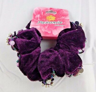 Hair scrunchies two pony tail twister ouchless purple velour flower silver charm