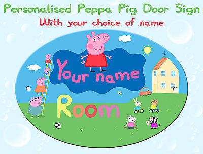Personalised Peppa Pig Oval Bedroom Door Sign Plaque ANY MESSAGE + NAME