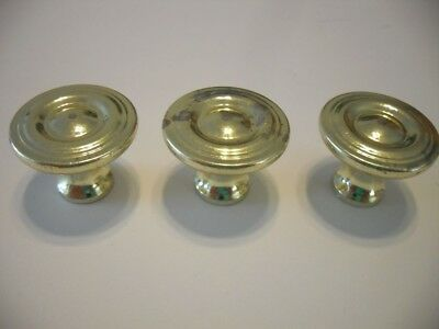 3 VINTAGE Bright BRASS Plated Ridged Face Knobs Drawer Cabinet Door Pulls Handle